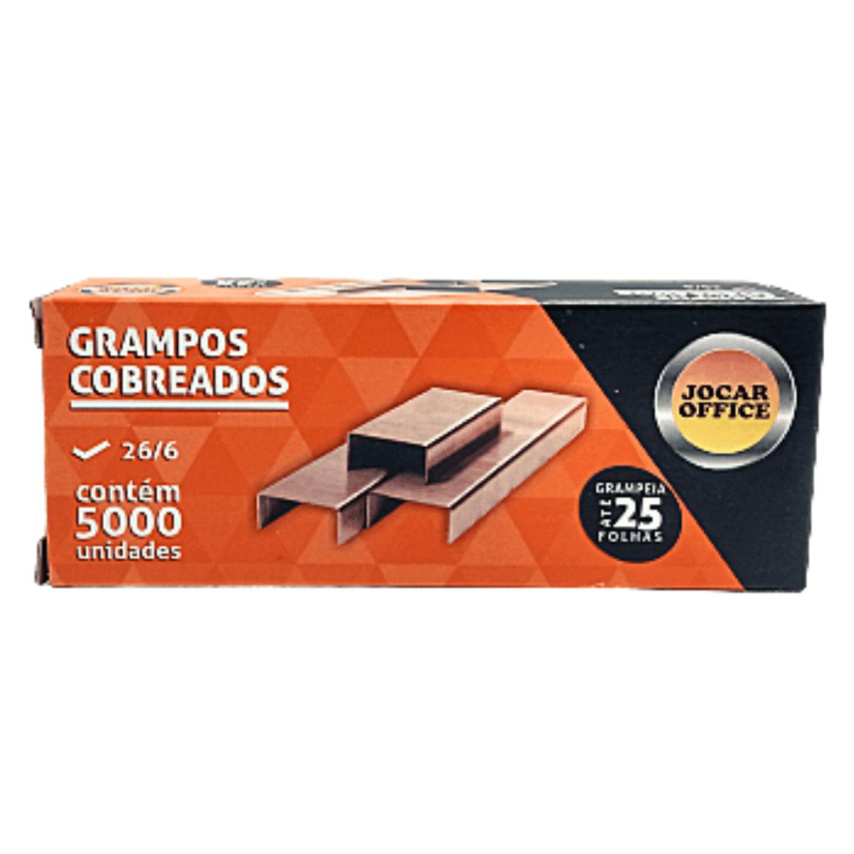 Grampos 26/6 Cobreados Caixa 5000 unidades - Jocar Office