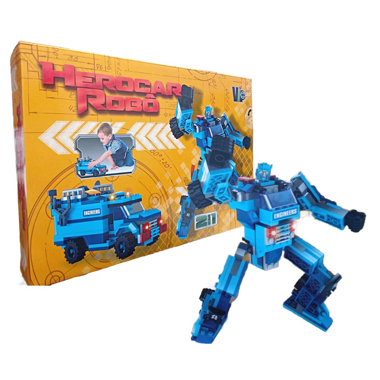 HeroCar Robô 201 peças Robô e Carrinho Azul de Montar