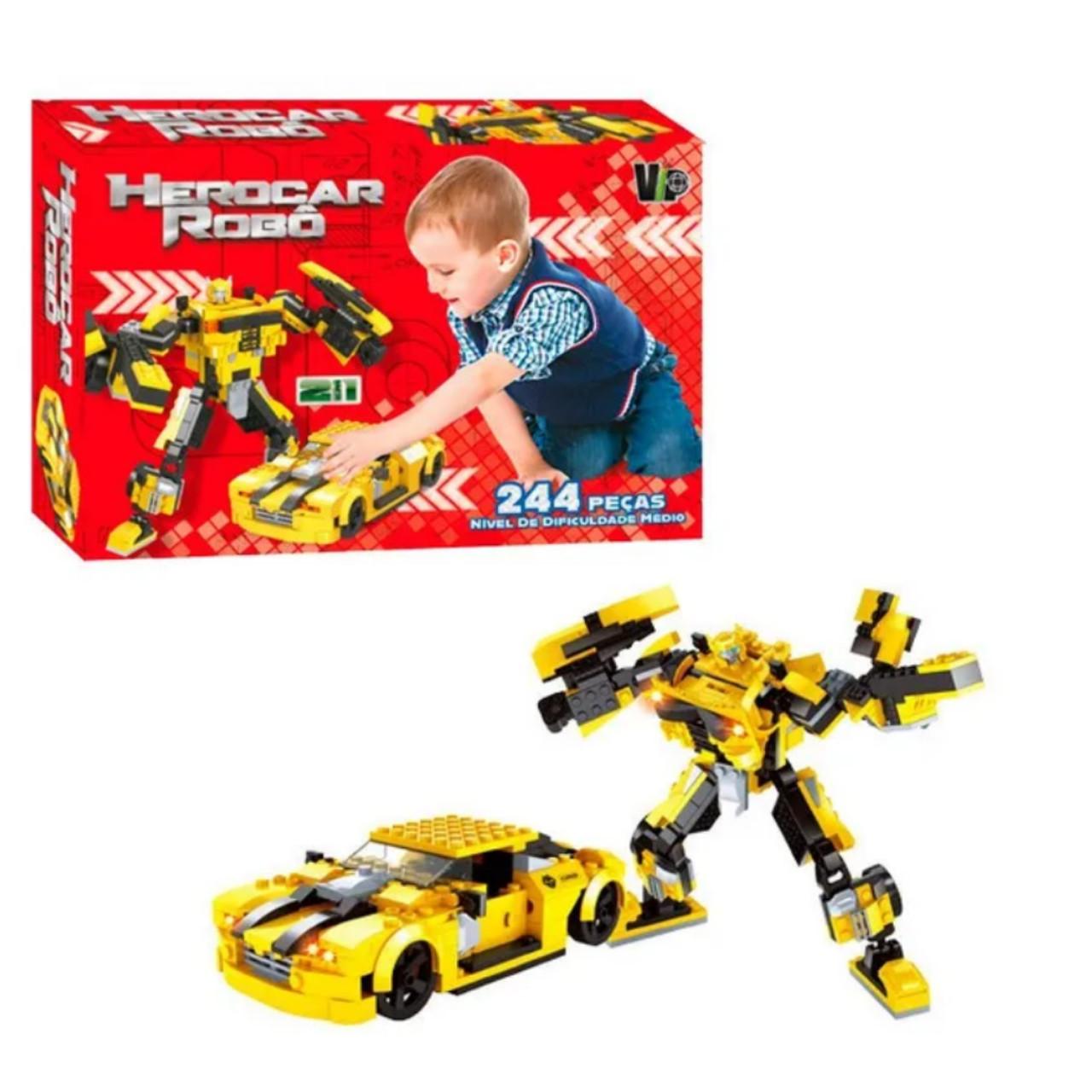 HeroCar Robô com 244 peças com Robô e Carrinhos