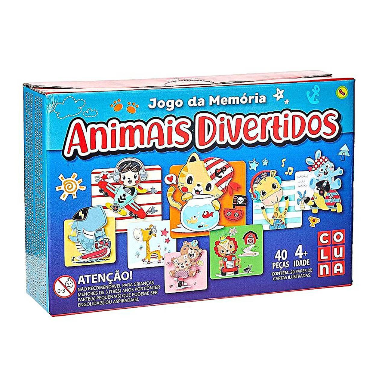 Jogo da Memória Animais Divertidos com 54 peças