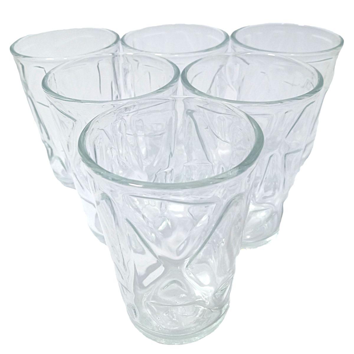 Jogo de copos de vidro 210ml com 6 peças New Style com 5 modelos