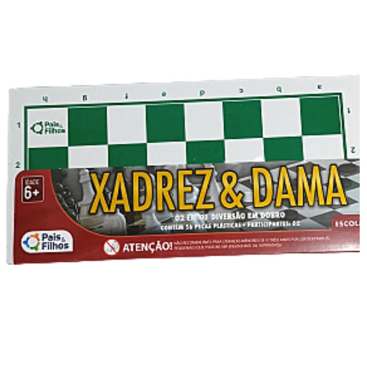 Jogo Xadrez e Dama Escolar - Pais e Filhos