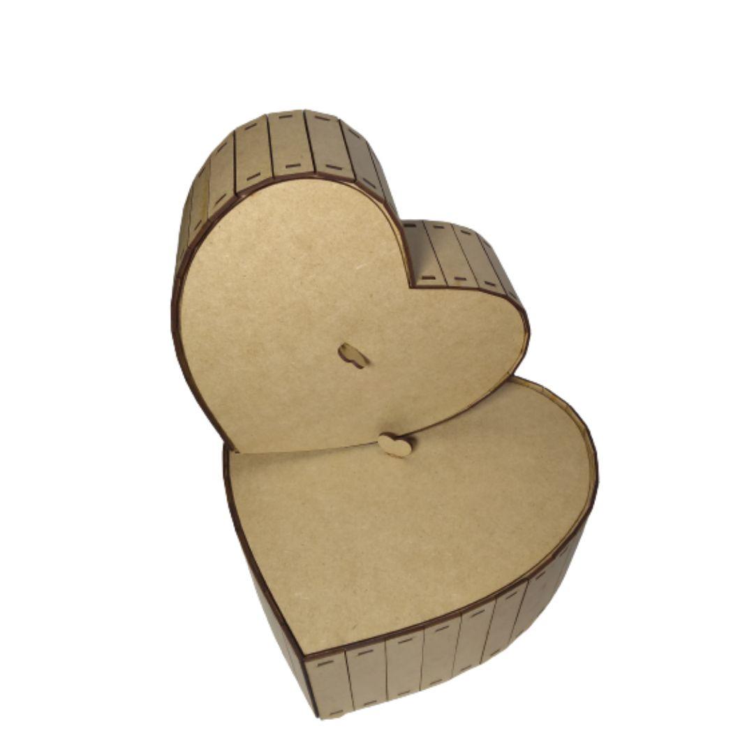 Caixa MDF Simples de Coração Kit com 2 Ótimo Acabamento
