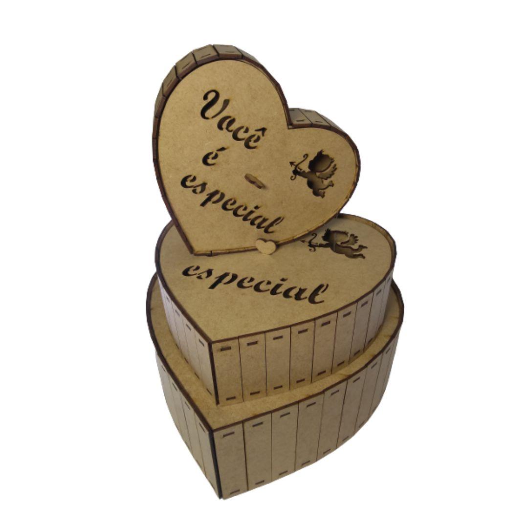 Caixa Kit C/3 Personalizadas Coração Você É Especial Cupido