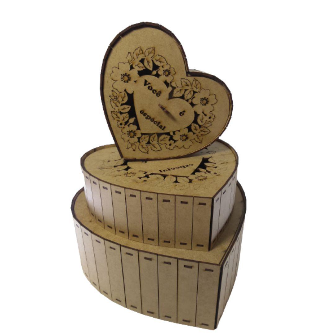 Kit Caixa Coração Você é Especial em Mdf Cru