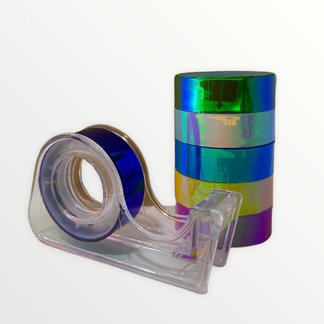 Kit com 6 Fitas Adesivas Metalizadas c/ Suporte Durex Moure Jar