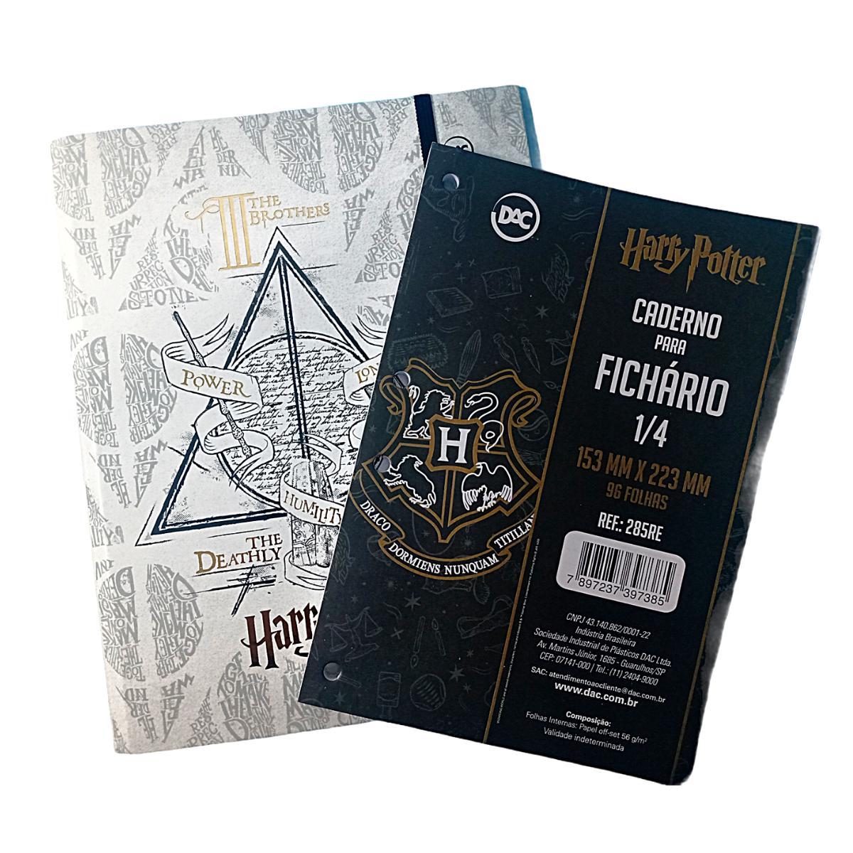 Kit Harry Potter Fichário Argolado Com Bloco 96 Folhas escolar