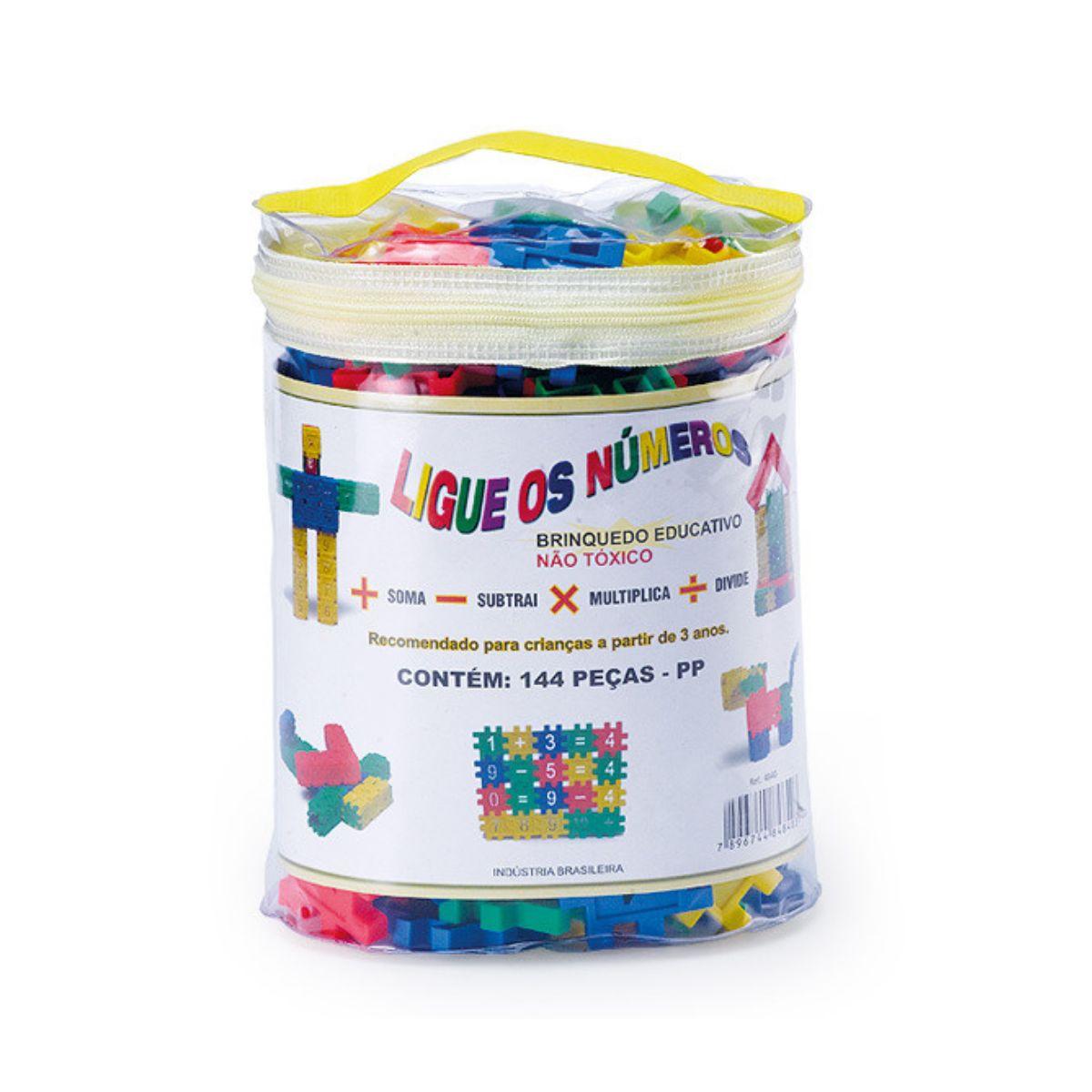 Kit Ligue Números com 144 peças coloridas para aprender brincando