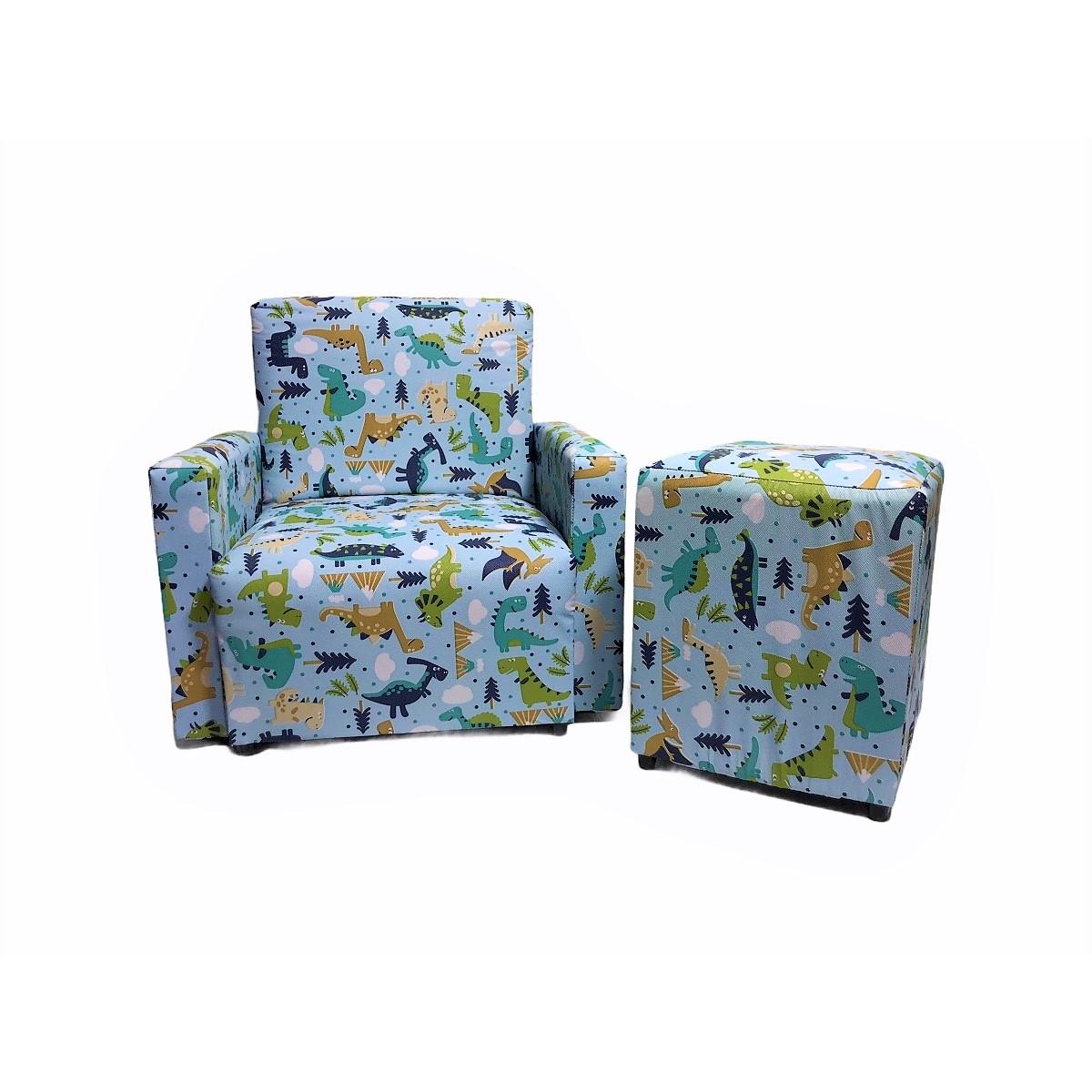 Kit Mini Puff + Sofazinho Infantil Dino Menino