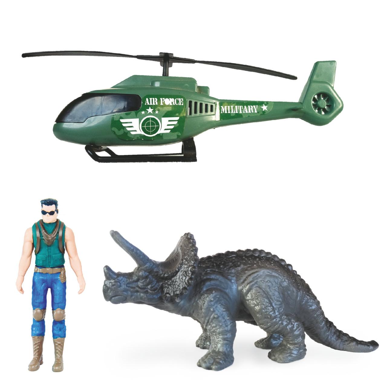 Triceratops Dinossaurus Adventure com Boneco e Helicópterp Militar