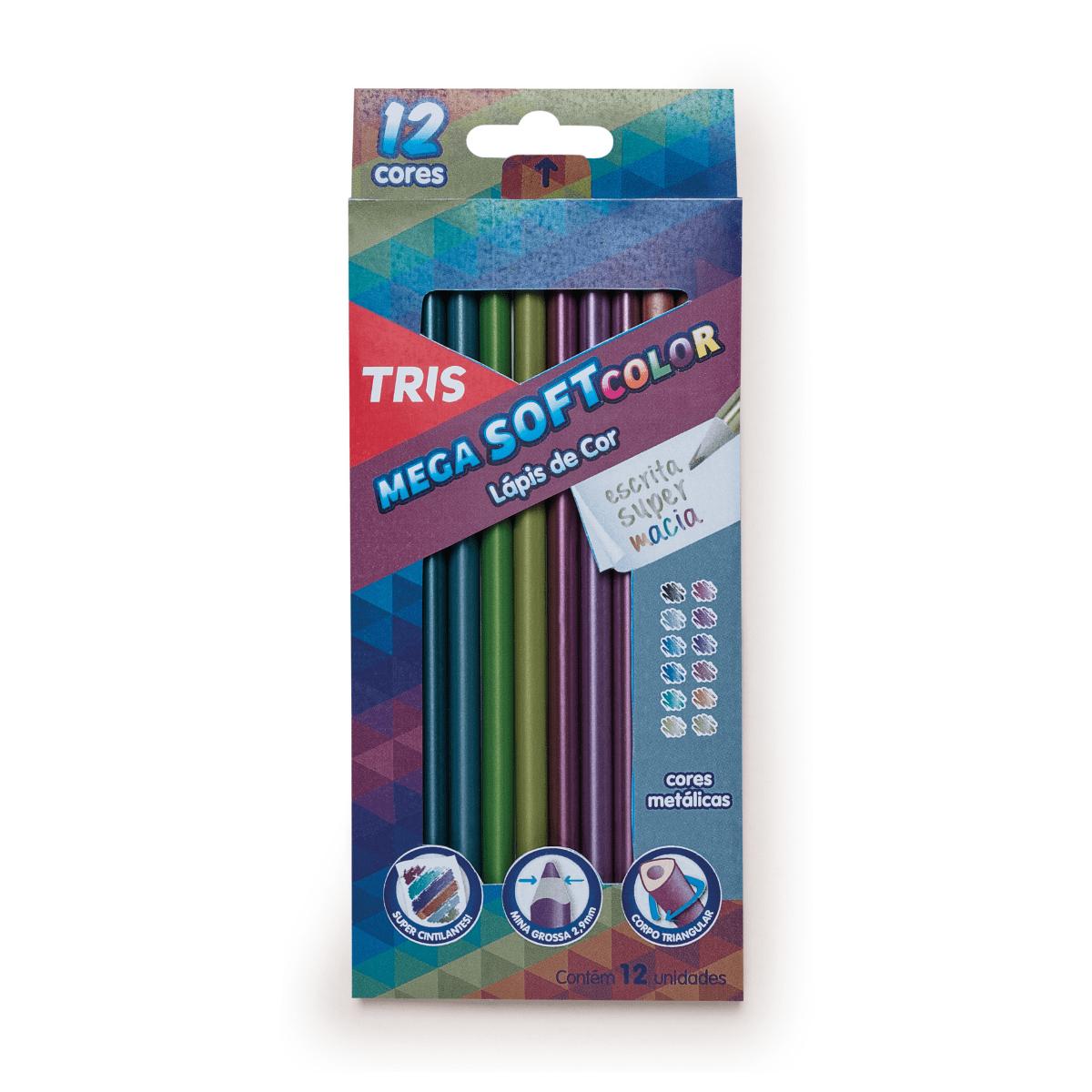 Lápis de Cor 12 cores Mega Soft Color Metálico - Tris