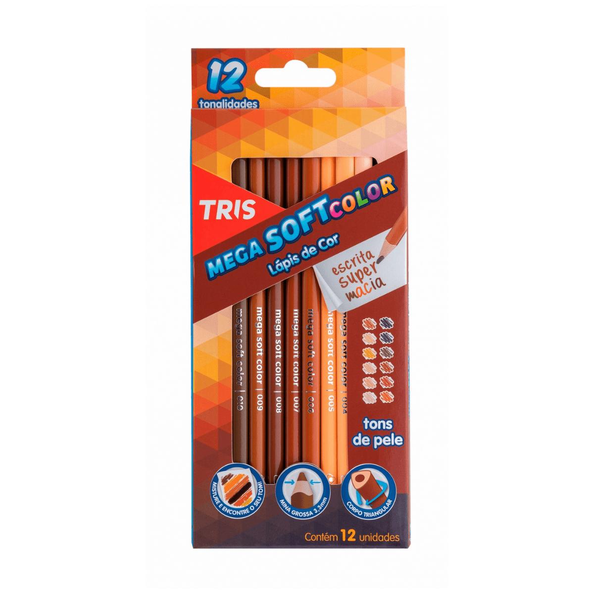 Lápis de Cor 12 cores Mega Soft Color Tons de Pele - Tris