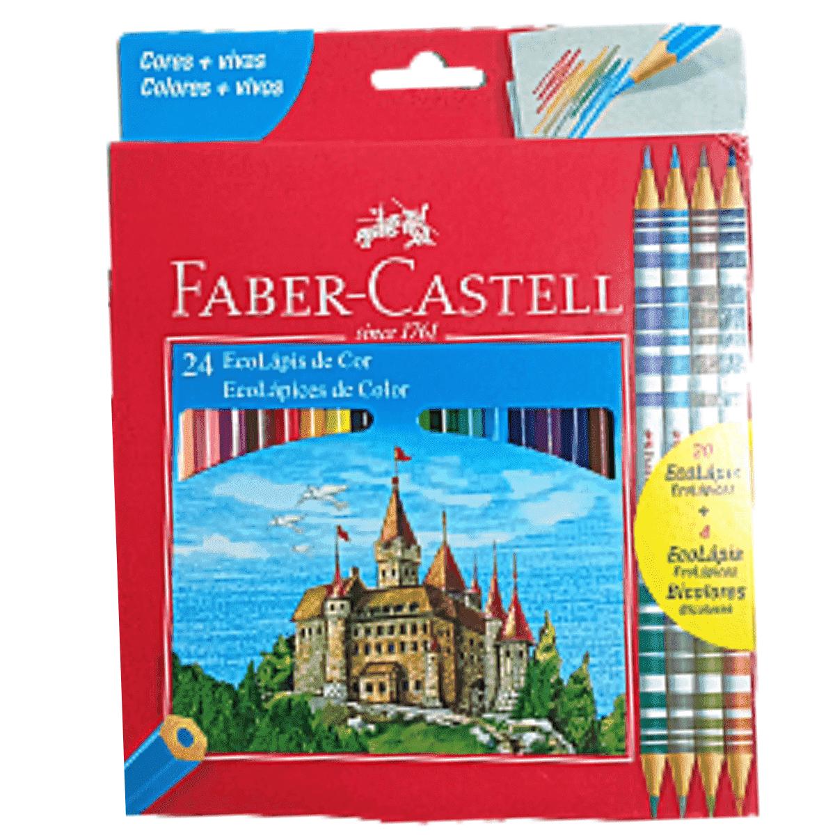 Lapis de cor 24 Cores + 4 lapis bicolor - Faber