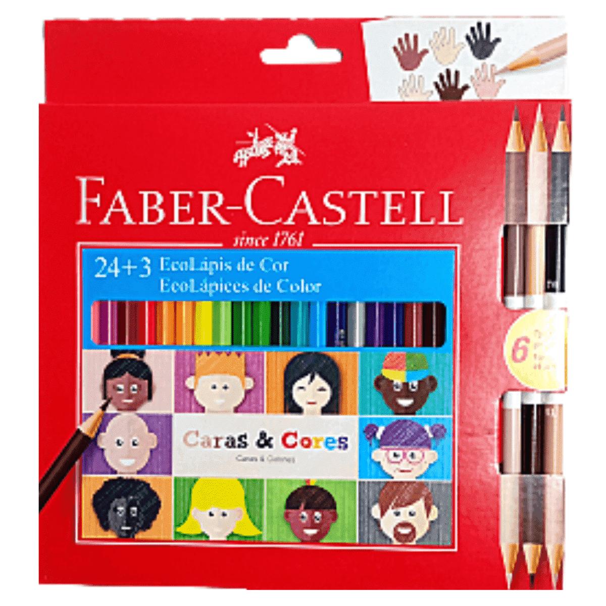 Lapis de cor 24 cores Caras e Cores - Faber Castell