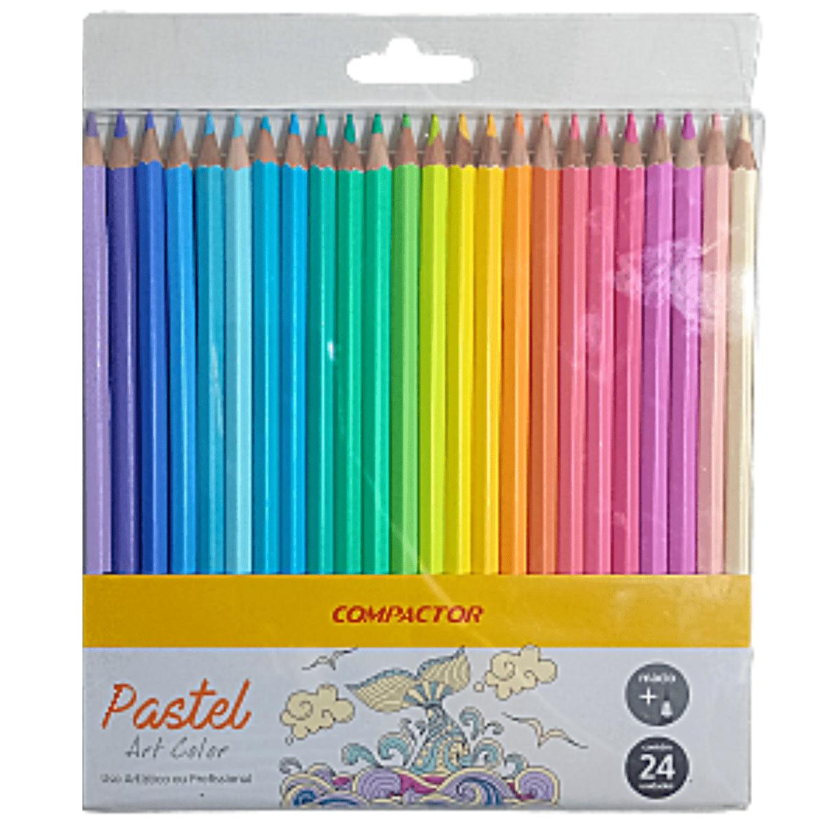 Lápis de Cor Compactor Pastel 24 cores