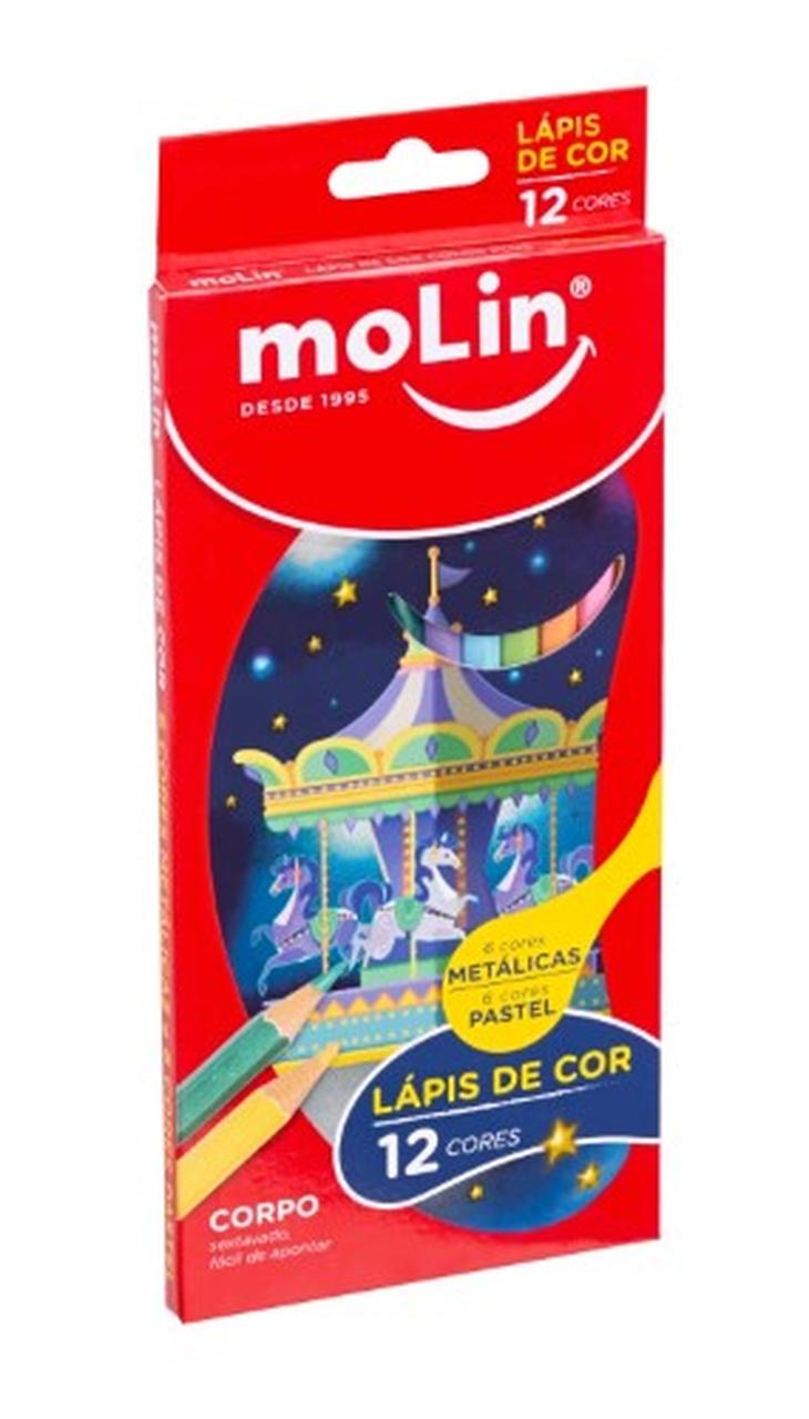 Lápis de Cor Pastel e Metálico com 12 Cores Molin
