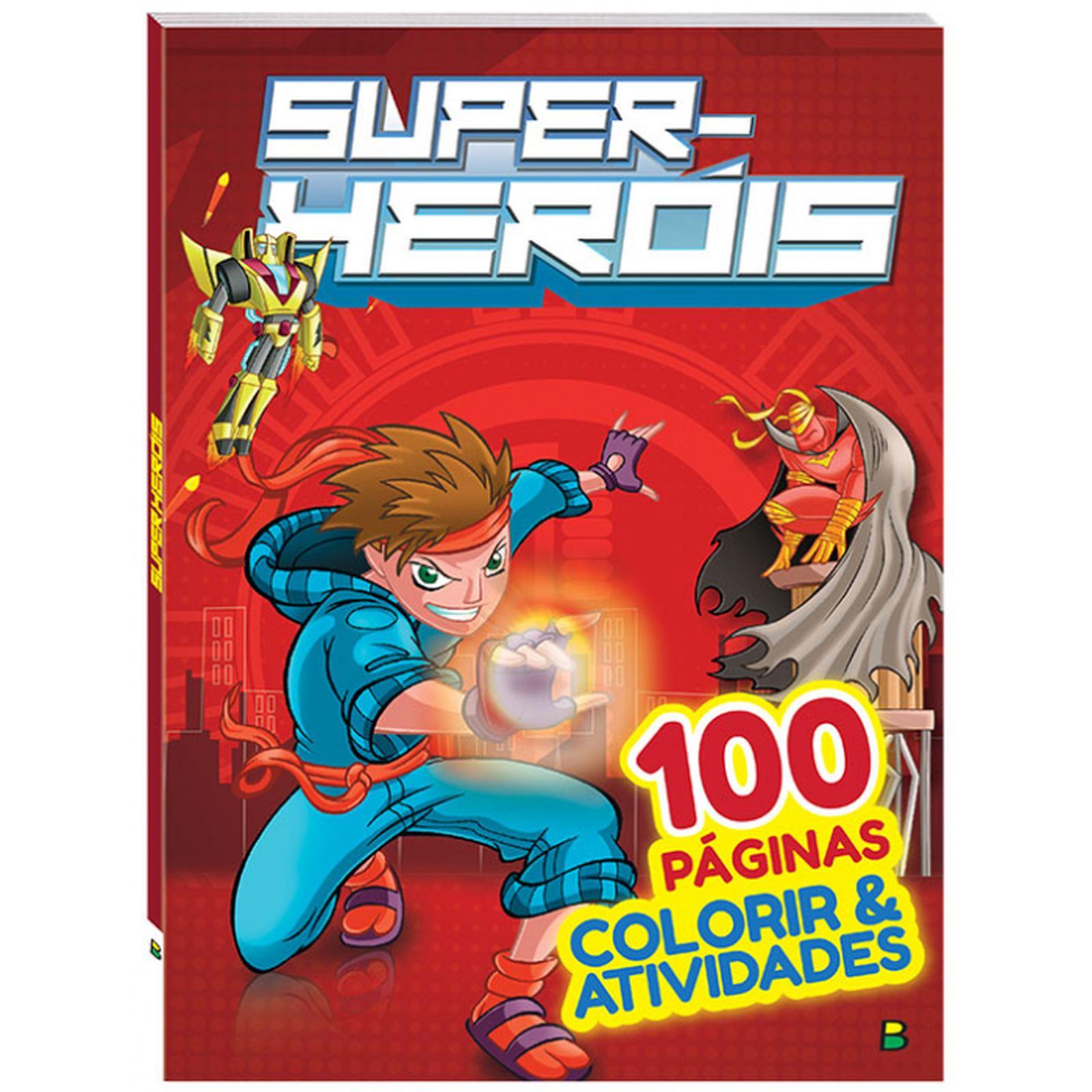 Livro 100 Páginas Para Colorir: Super-Heróis