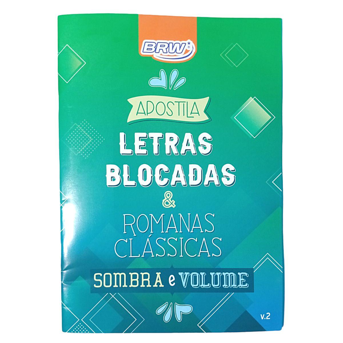 Livro Apostila Letras Blocadas e Tomanas Clássicas Sombra e Volume Caligrafia
