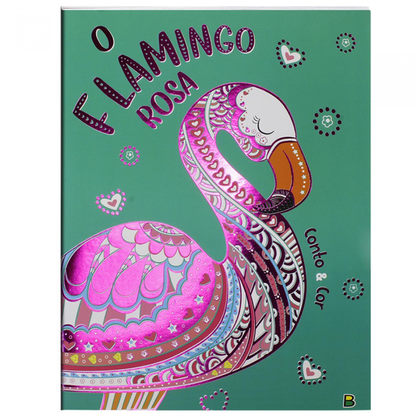 Livro de Colorir com Historia: O Flamingo Rosa