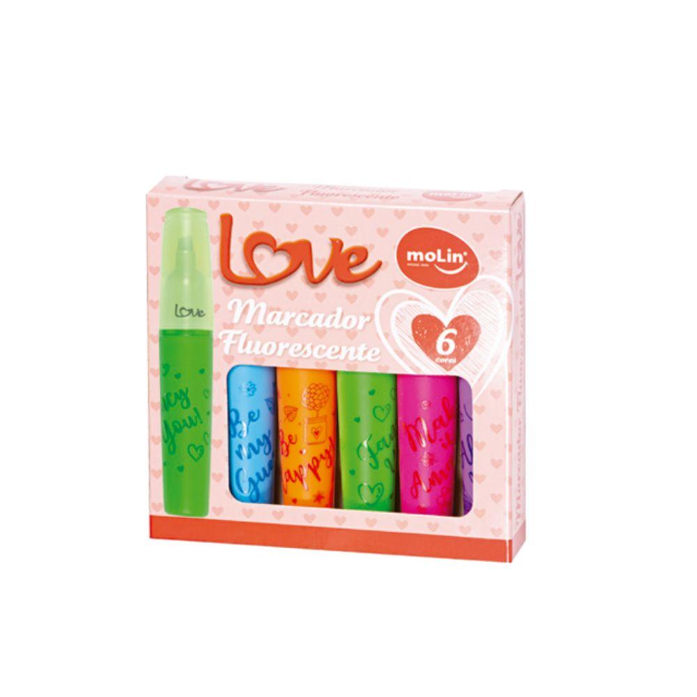 Marcador Fluorescente Marca Texto Love Com 6 Cores - Molin