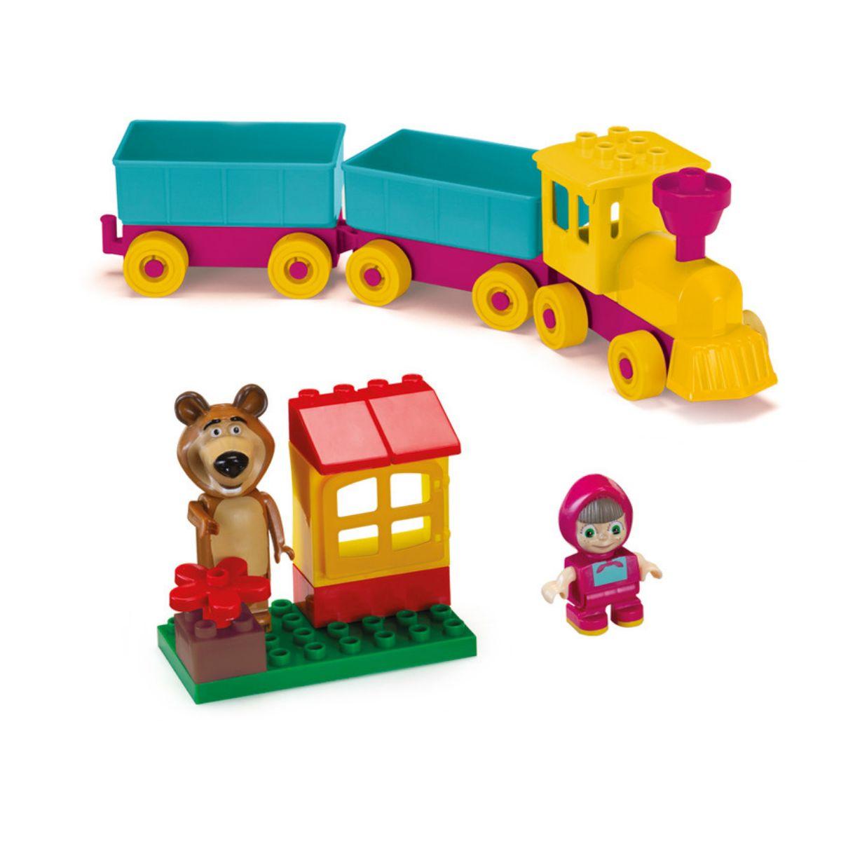 Masha e o Urso trenzinho com 16 blocos e 2 bonecos