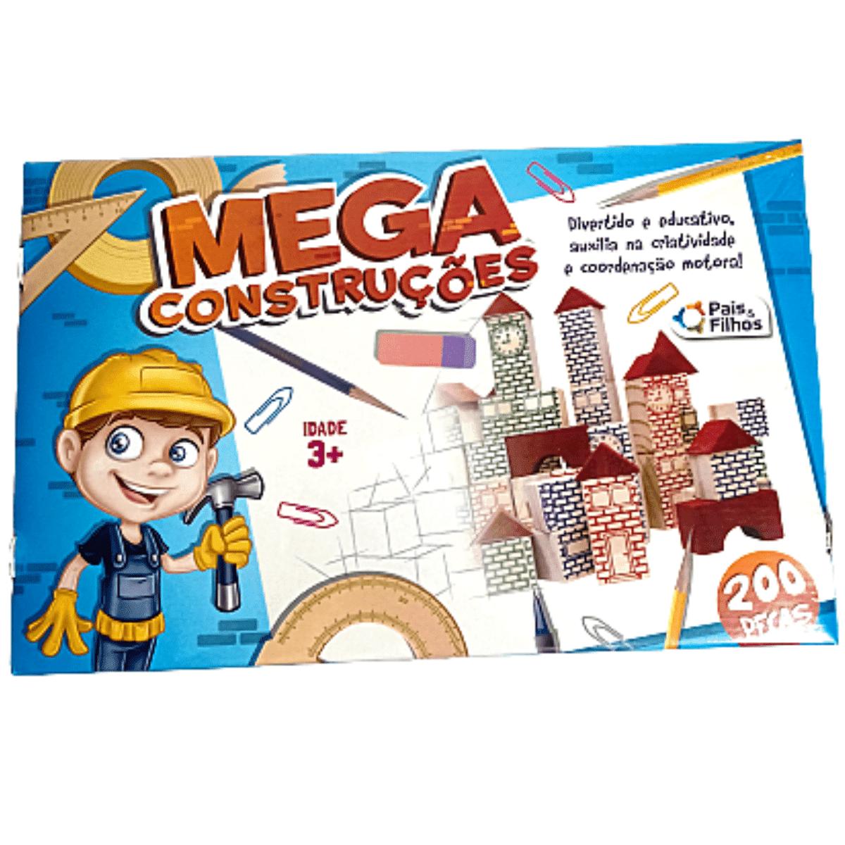 Jogo Mega Construções 200 peças Madeira - Pais e Filhos