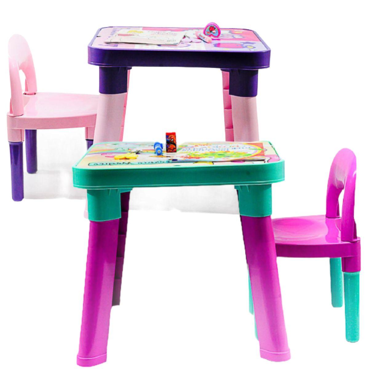 Mesa Hello Kitty/Unicórnio de leitura e atividades completa com 21 itens