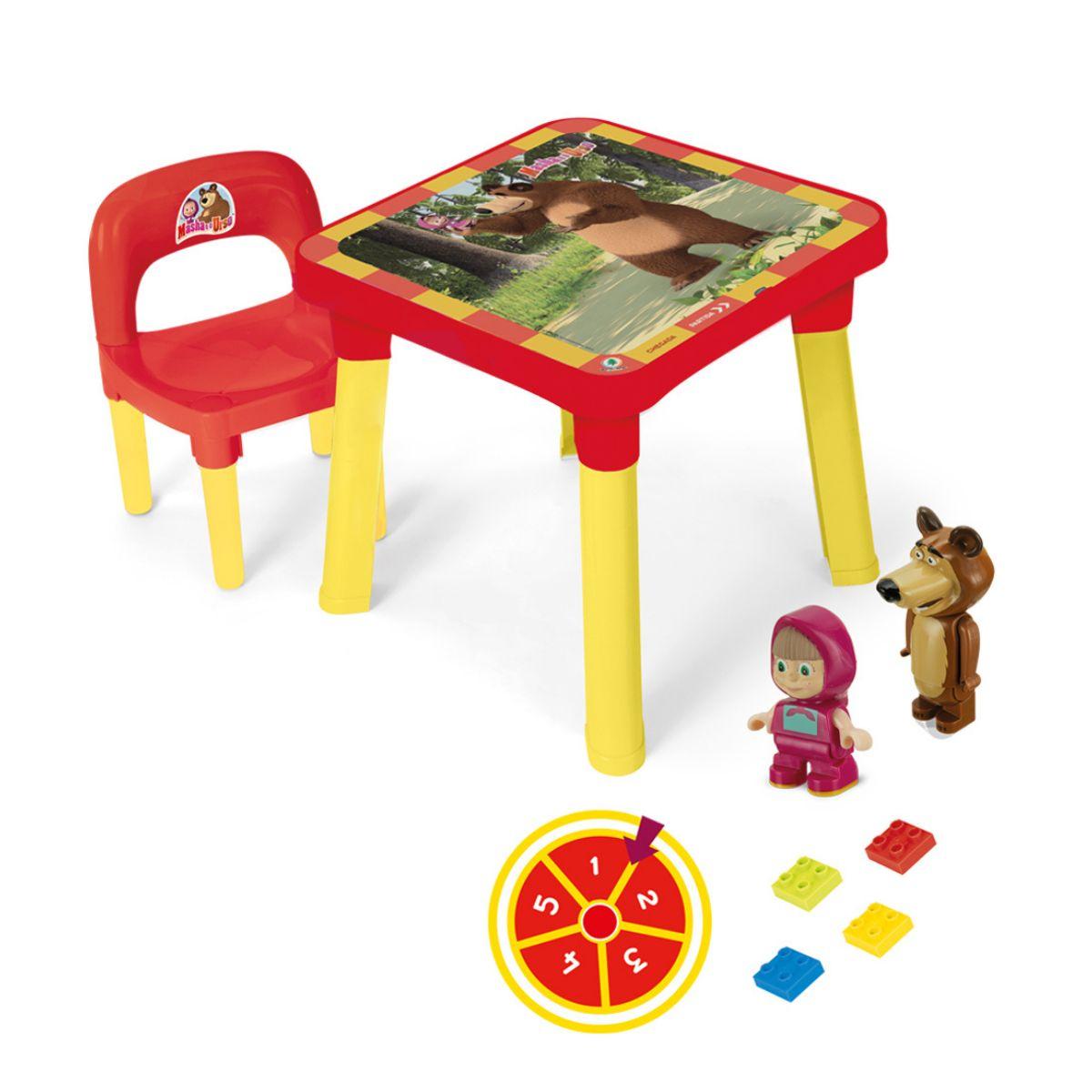 Mesinha com cadeira desmontável Masha e o Urso com Tampa Removível