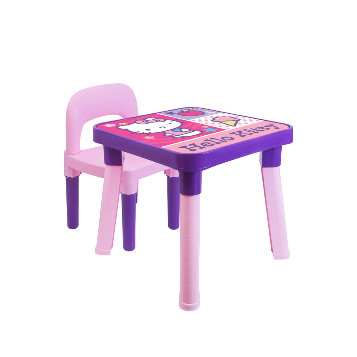 Mesinha com cadeira Hello Kitty com um boneco