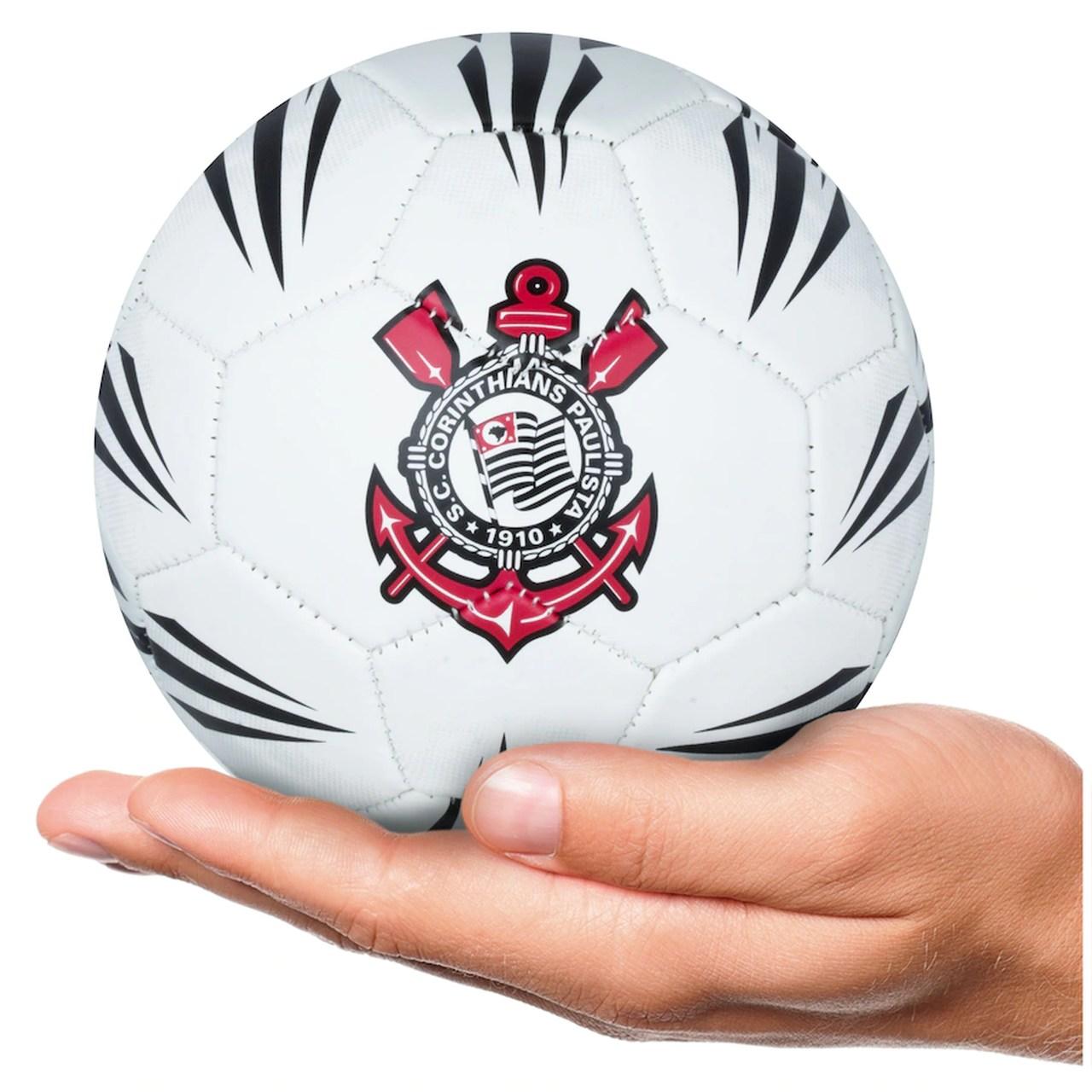 Mini Bola de Futebol Corinthians Estádios Branca e Preta nº2