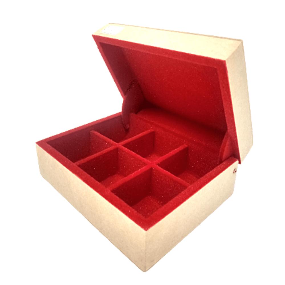 Caixa Mini MDF 6 divisórias Flocada com Interior Vermelha