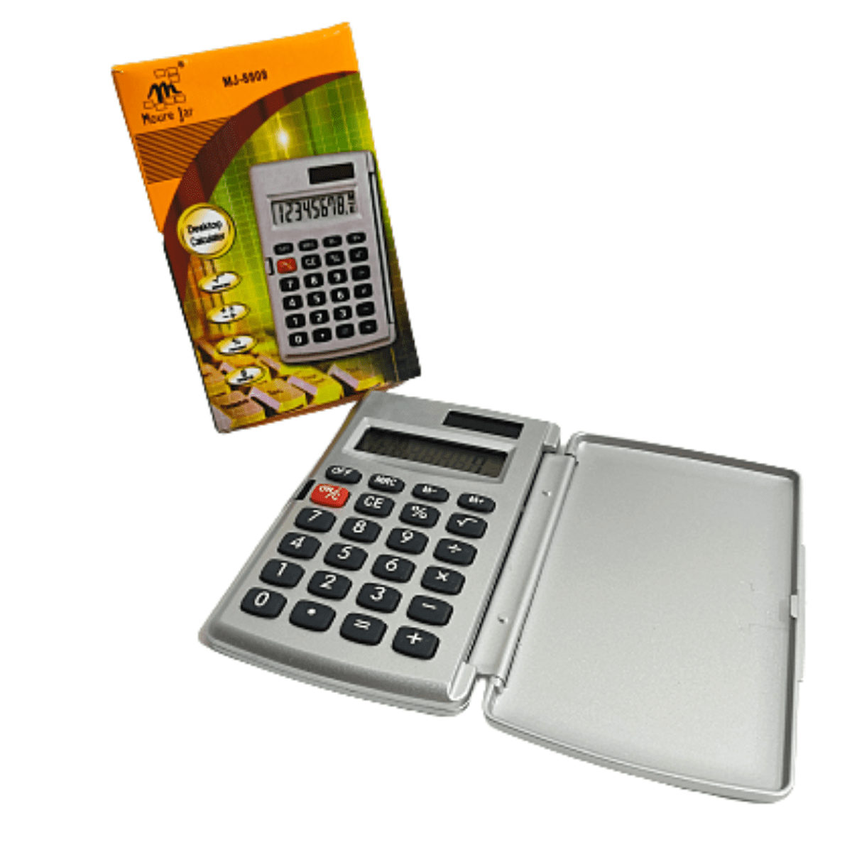 Calculadora Portátil Mini Eletônica Cinza com Capa Mj - 8808