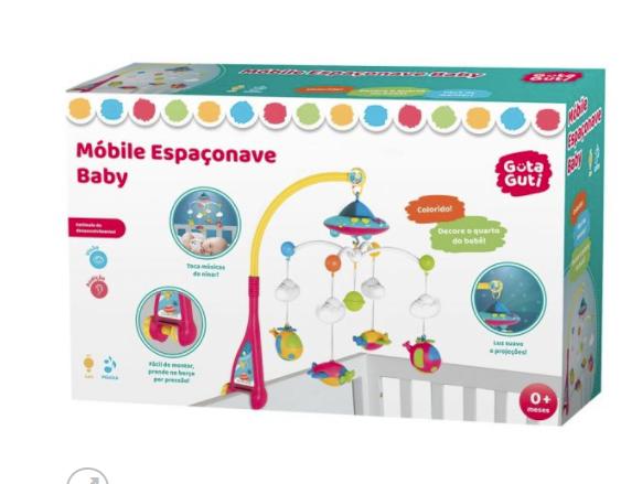 Mobile berço descanso bebê espaço musical luz gira colorido - Dm Toys