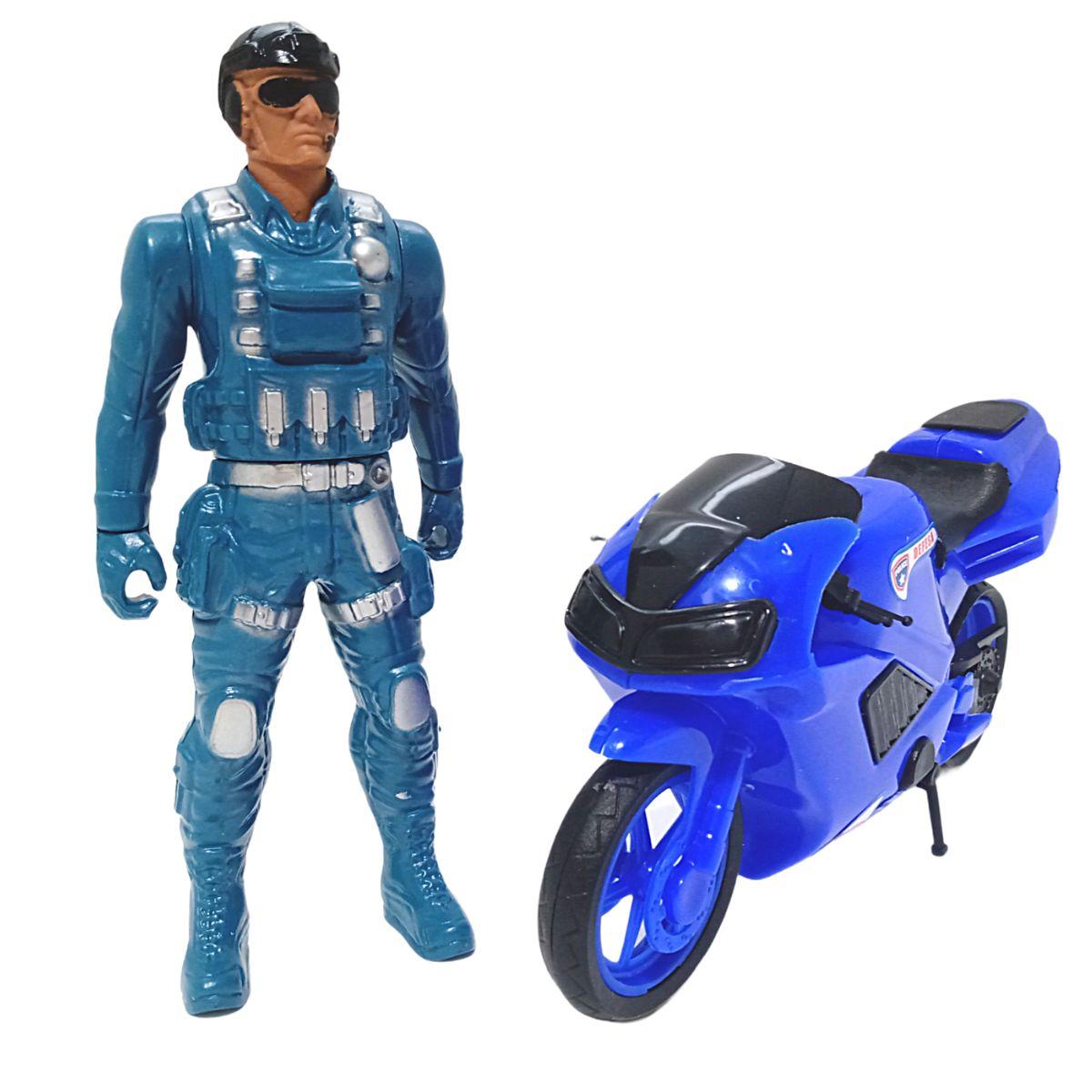 Moto de Brinquedo com Boneco Policial Fatal War Polícia