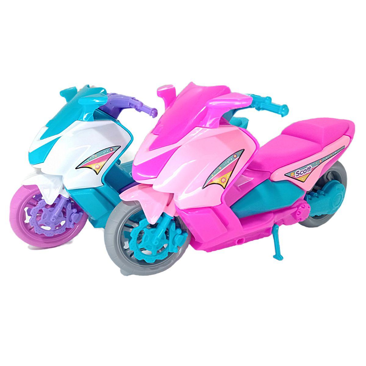 Moto de Brinquedo Scott Feminina Super Divertida Rosa e Azul