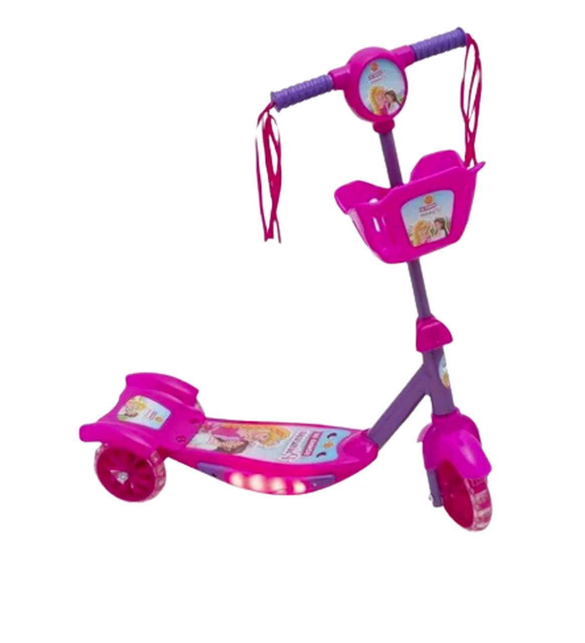 Patinete 3 rodas Sonho de Princesa c/ Cesta Luz e Som - Dm Toys