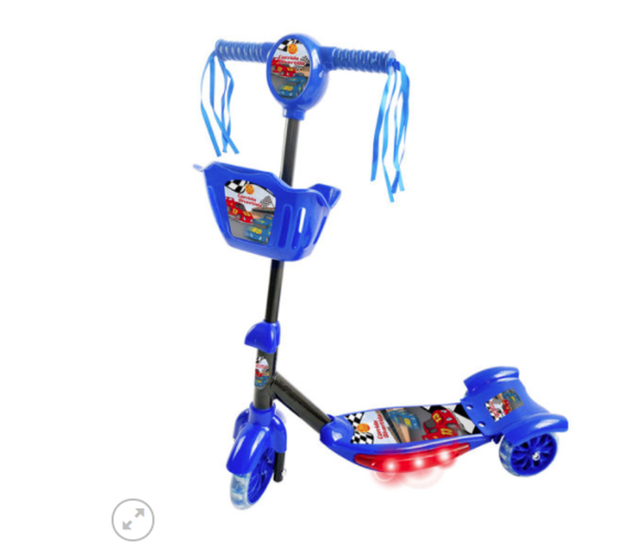 Patinete Musical Infantil 3 Rodas Azul Menino Cesta Luzes