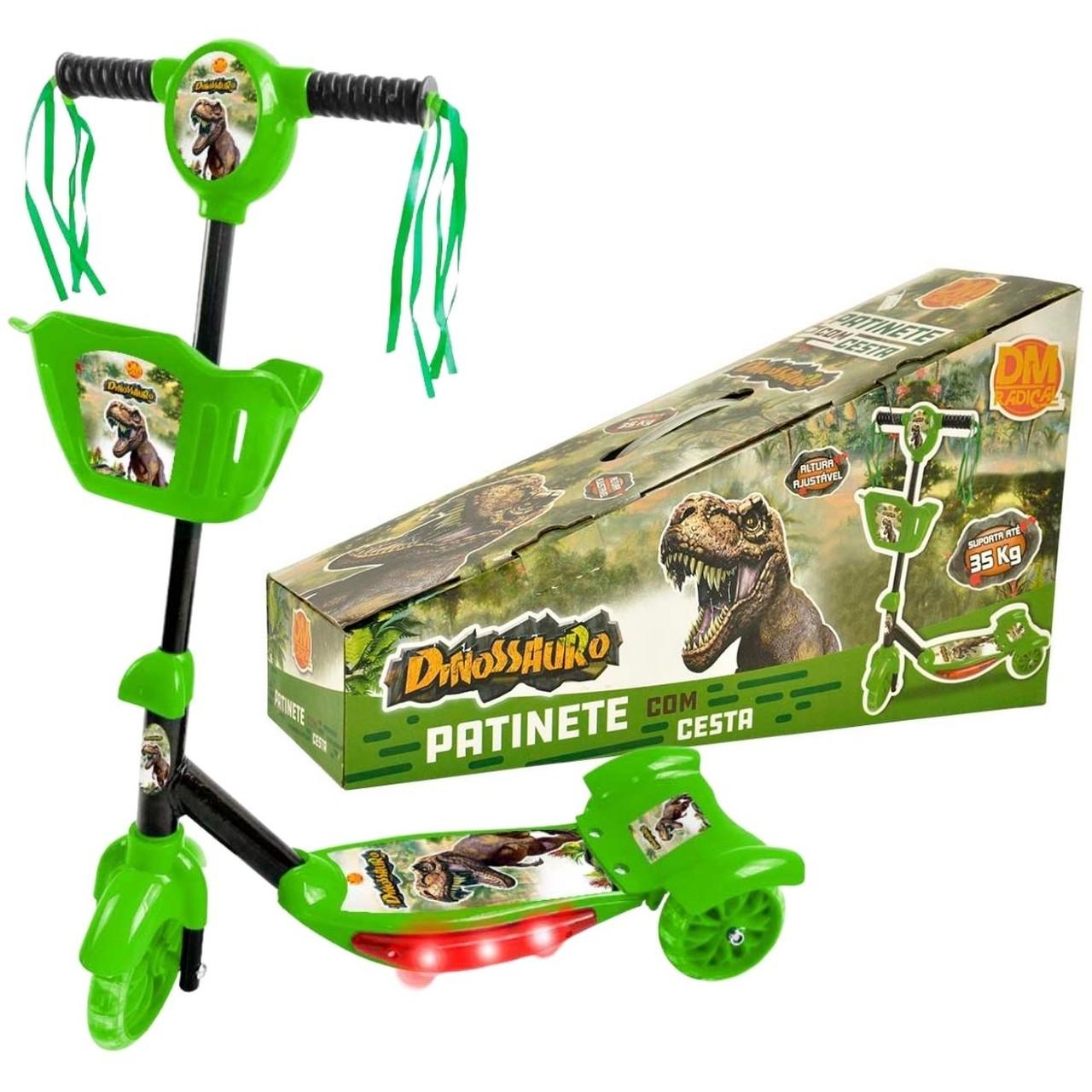 Patinete Verde com Cesta - Dinossauro - DMTOYS