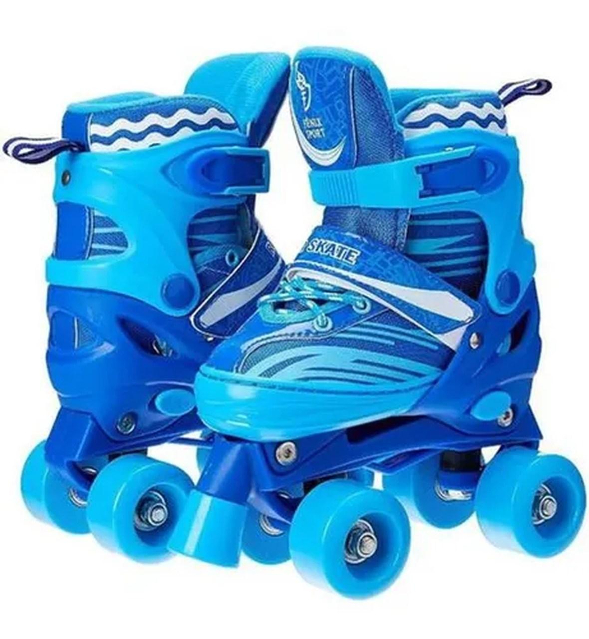 Patins 4 Rodas Clássico Roller Skate Ajustável Azul RL-02 - Fênix