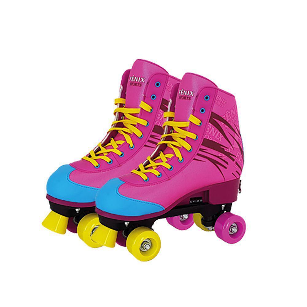 Patins 4 Rodas Roller Skate Retro Ajustável Rosa - Fênix