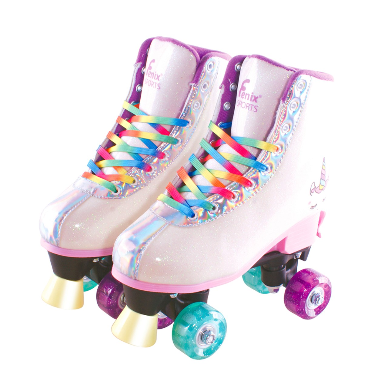 Patins Roller Skate 4 Rodas Ajustável C/luz Unicórnio Fenix