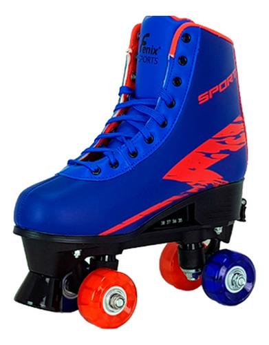 Patins Roller Skate 4 Rodas Ajustável Com Luz Menino - Fenix