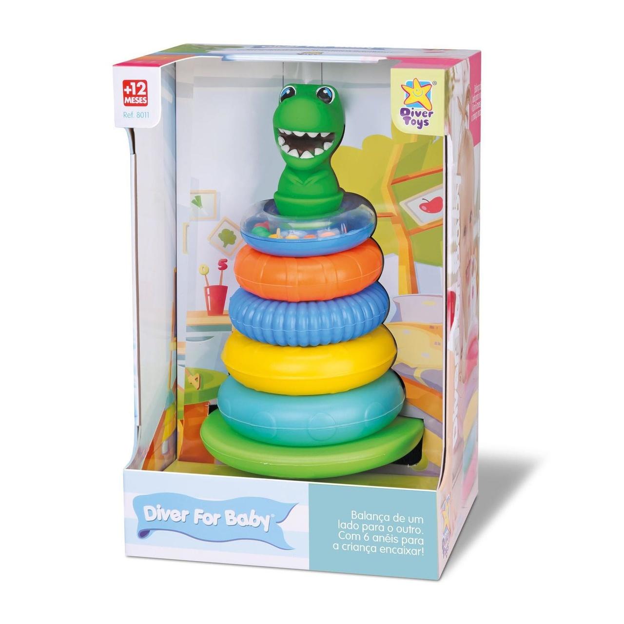 Pirâmide Diver For Baby Argolas Com Chocalho Dino Divertoys - Ref.: 8175