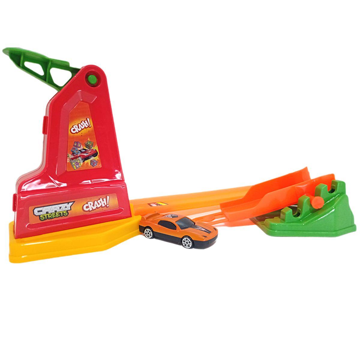 Pista de Brinquedo Divertida Crazy Streets Crash com Carrinho