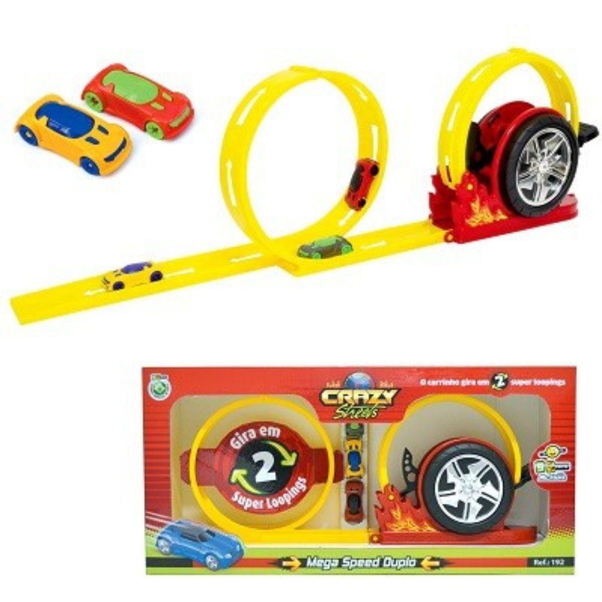 Pista de Brinquedo Super Mega Speed Duplo Com Looping Com Carrinhos