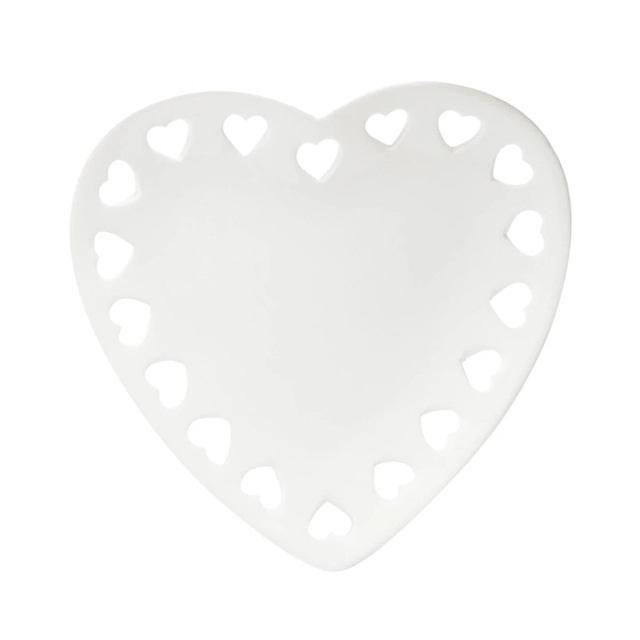 Porta Anéis Lyor Cerâmica Coração Branco Raso 18cm