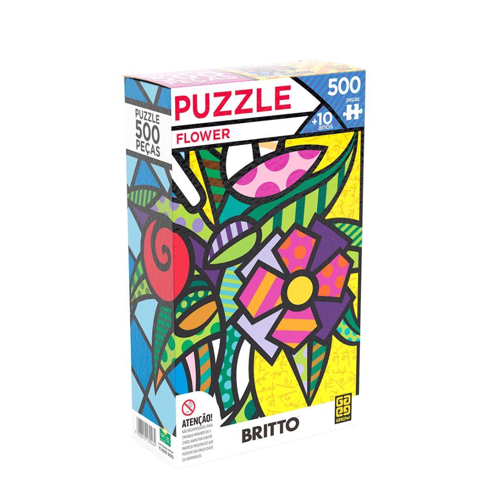Quebra cabeça de 500 peças Flower Romero Britto - GROW