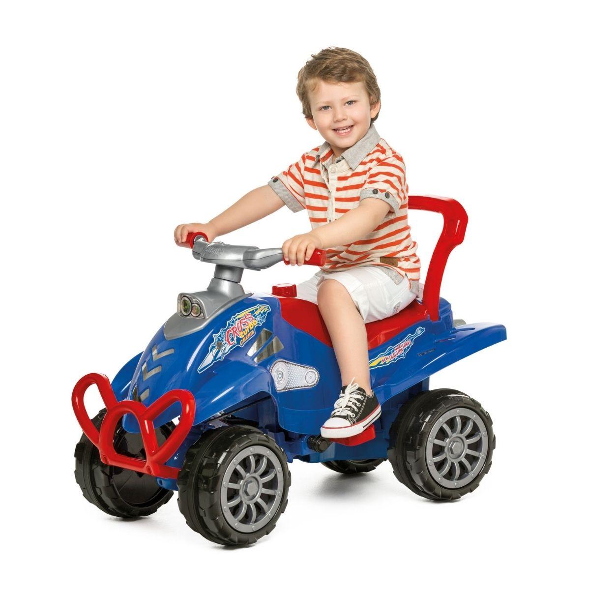 Quadriciclo Cross Turbo Azul com Empurrador