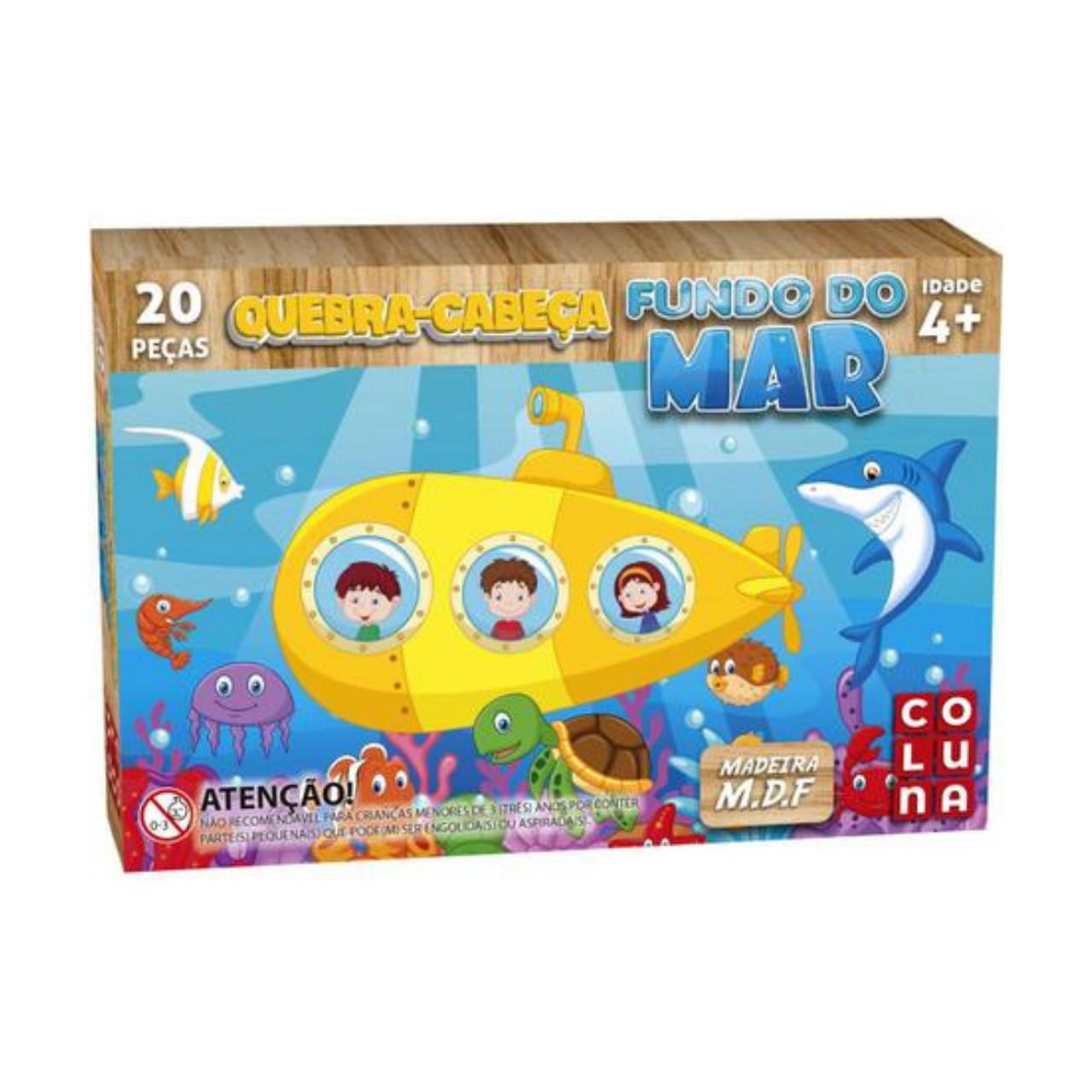 Quebra Cabeça Fundo do Mar 20 peças Infantil