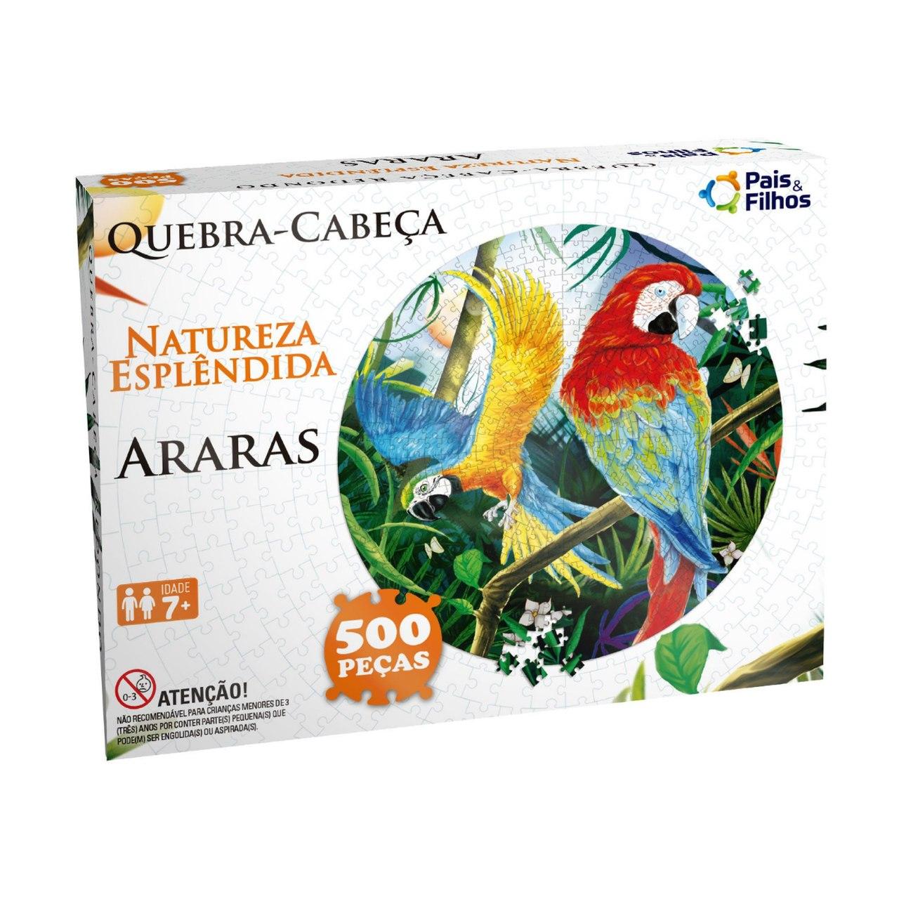 Quebra Cabeça Redondo Araras 500 peças Animais